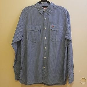 Simms Transit Blue Plaid Long Sleeve shirt, Large